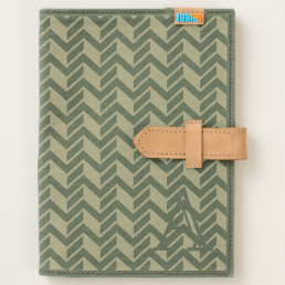 Cool Blue Chevron Pattern Monogram Journal