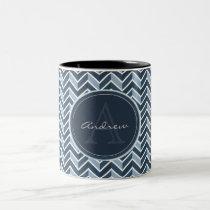 Cool Blue Chevron Pattern Monogram Two-Tone Coffee Mug
