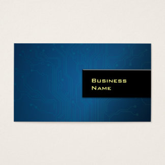 Cool Blue Circuit Layout Hi-tech Business Card