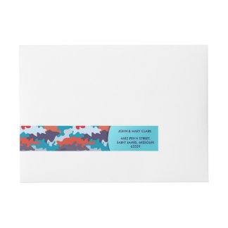 Cool blue color style camouflage pattern wrap around address label