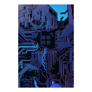 Cool Blue Computer Circuit Board Poster