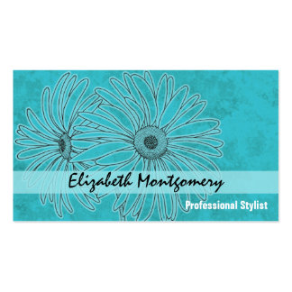 Cool Blue Daisy Stylist Appointment Business Card Business Card