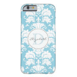 Cool Blue Damask Monogrammed iPhone Case Barely There iPhone 6 Case