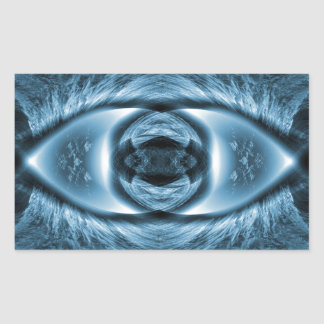 Cool, blue design sim rushing water; geometric rectangular sticker