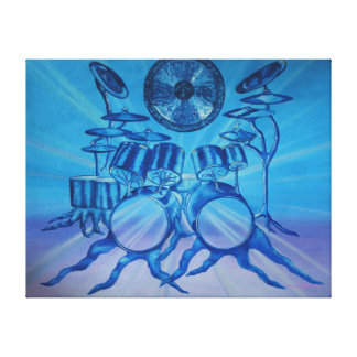 Cool Blue Double Bass Drums Painting Canvas Print
