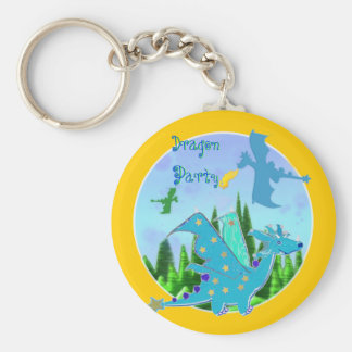 Cool Blue Dragon Party Keychain
