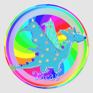 Cool Blue Dragon Sticker customizable Name Lucas