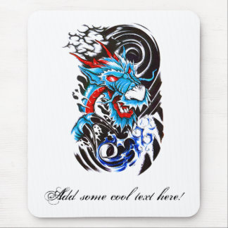 Cool Blue Dragon tattoo Mouse Pad