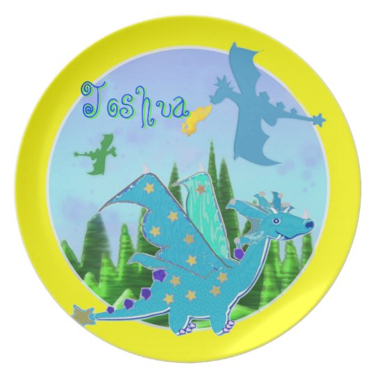 Cool Blue Dragon with Name Joshua Melamine Plate