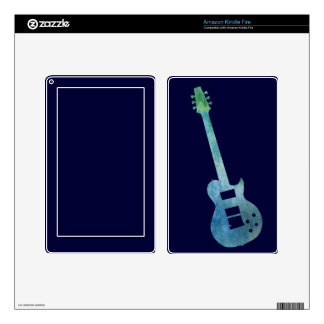 Cool Blue Electric Guitar Kindle Fire Decal