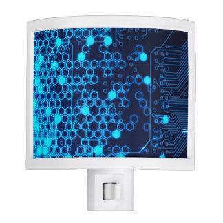 Cool Blue Electronic Circuit Board Hexagon Pattern Nite Light