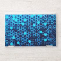 Cool Blue Electronic Circuit Board Hexagon Pattern HP Laptop Skin