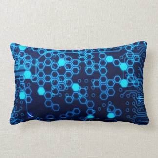 Cool Blue Electronic Circuit Board Hexagon Pattern Lumbar Pillow