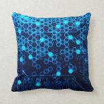 Cool Blue Electronic Circuit Board Hexagon Pattern Pillow