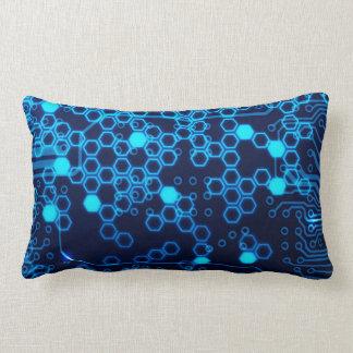 Cool Blue Electronic Circuit Board Hexagon Pattern Throw Pillow