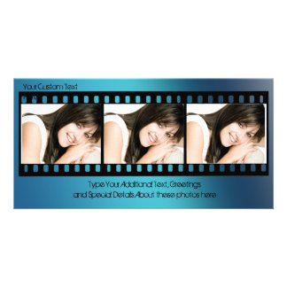 Cool Blue Filmstrip Photo Card, All-Occasion Photo Card