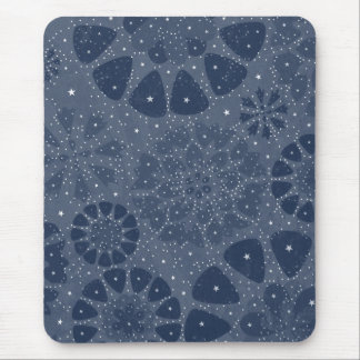 Cool Blue Floral Star Pattern Design Mouse Pad