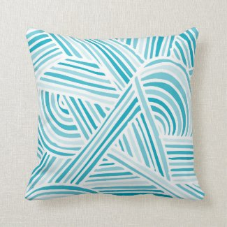 Cool Blue Fun Doodle Lines Pillow