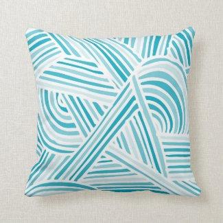 Cool Blue Fun Doodle Lines Pillow