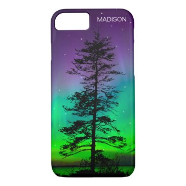Beach Themed Cool Blue Galaxy Stars Redwood Tree Aurora iPhone 7 Case
