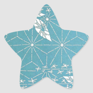 Cool Blue Geometric Pattern with Plants Star Sticker