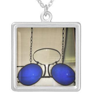 Cool Blue Glasses Square Pendant Necklace