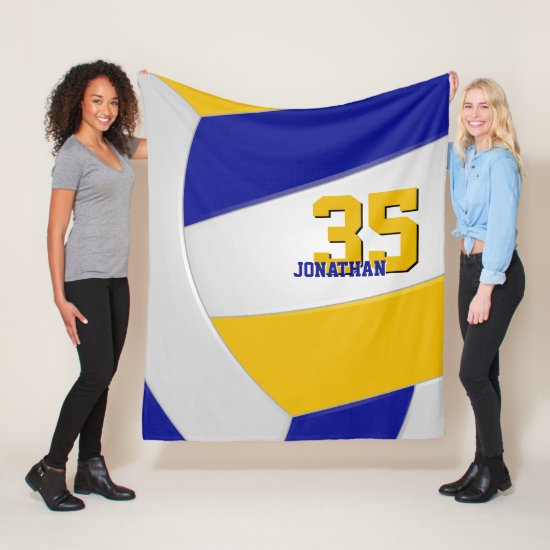 cool blue gold and white ginormous volleyball fleece blanket