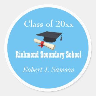 Cool blue graduates stickers. classic round sticker