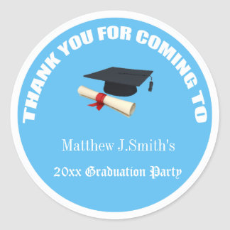 Cool blue graduates thank you stickers. classic round sticker