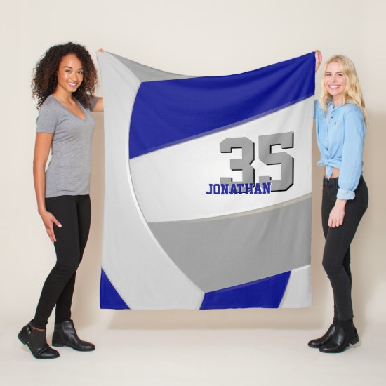 cool blue gray and white ginormous volleyball fleece blanket