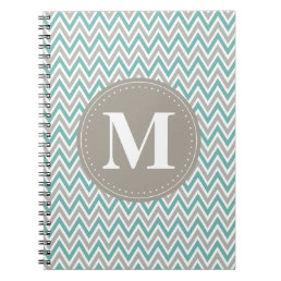 Cool Blue Gray Chevron Pattern Monogram Notebook