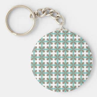 Cool Blue Gray Cris Cross Star Floral Patterns Basic Round Button Keychain