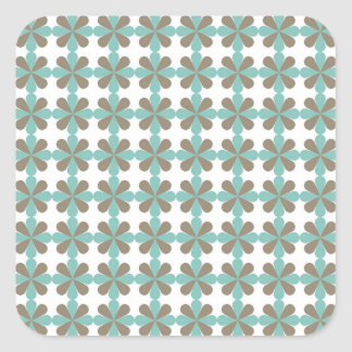 Cool Blue Gray Cris Cross Star Floral Patterns Square Sticker
