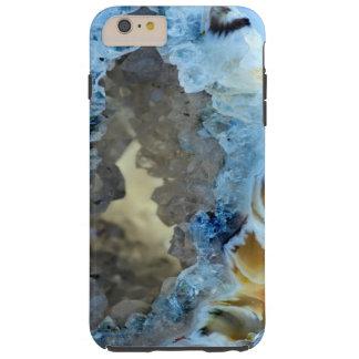 Cool Blue Gray Ecru Gemstone Crystals Patterns Tough iPhone 6 Plus Case