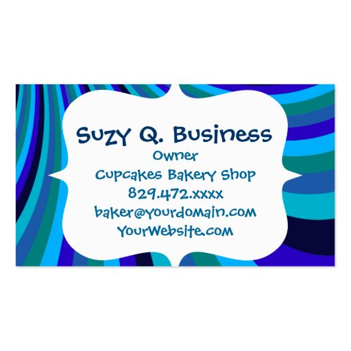 Cool Blue Gray Rainbow Slide Stripes Pattern Business Card Templates