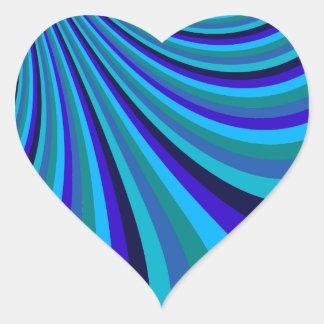 Cool Blue Gray Rainbow Slide Stripes Pattern Heart Sticker
