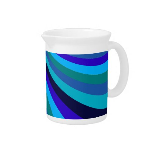 Cool Blue Gray Rainbow Slide Stripes Pattern Beverage Pitchers