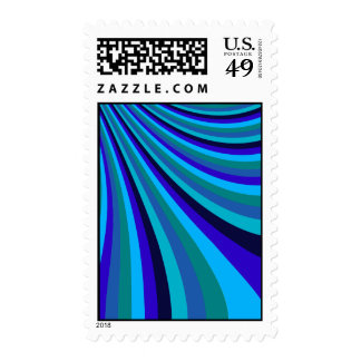 Cool Blue Gray Rainbow Slide Stripes Pattern Postage Stamps