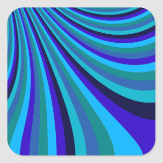 Cool Blue Gray Rainbow Slide Stripes Pattern Square Sticker