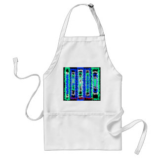Cool blue green and black psychedelic rectangles adult apron