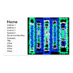 Cool blue green and black psychedelic rectangles business card template