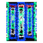 Cool blue green and black psychedelic rectangles full color flyer