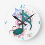 Cool blue grunge music note stars flowers swirls clocks
