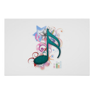 Cool blue grunge music note stars flowers swirls poster