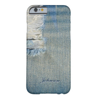 Cool Blue Jean & Threads Pattern Monogram Name Barely There iPhone 6 Case