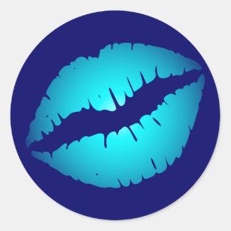 Cool Blue Kiss Classic Round Sticker
