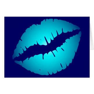 Cool Blue Kiss Greeting Card