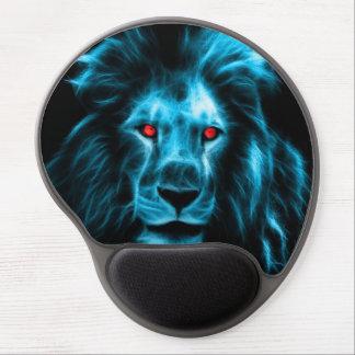 Cool Blue Lion With Blue Eyes Portrait Gel Mouse Pad