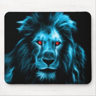 Cool Blue Lion With Blue Eyes Portrait Mouse Pad