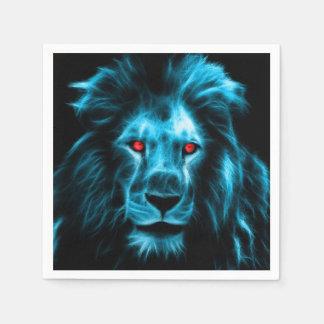 Cool Blue Lion With Blue Eyes Portrait Napkin